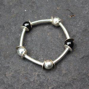 3F25 Vintage Silver Metal Stretch Bracelet